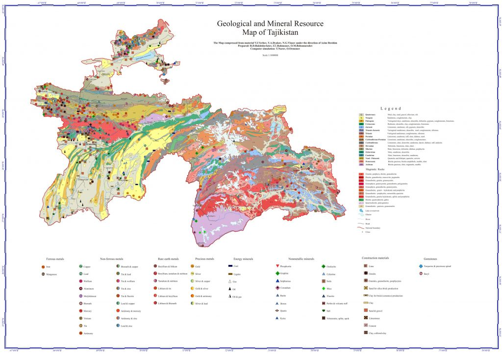 Geological and Mineral Resource Map of Tajikistan